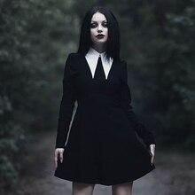 Imily Bela готическое мини-платье с отложным воротником, женское сексуальное винтажное платье трапециевидной формы с длинным рукавом в стиле ампир, Осеннее женское Повседневное платье