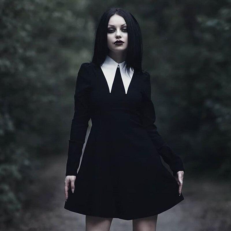 Imily Bela Gothic Turn-Down Collar Mini Dress Women Sexy Vintage Long Sleeve Empire A-line Dresses Autumn Femme Casual Vestidos