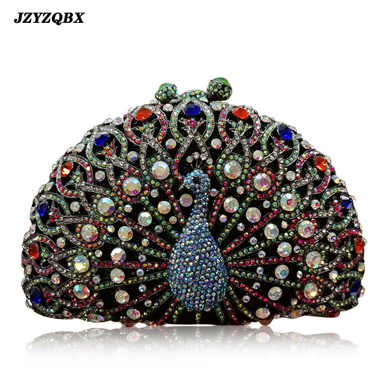 Peacock Handbag Evening Clutch Bag Diamond Shoulder Crystal Luxury Handbags Women Bags Designer