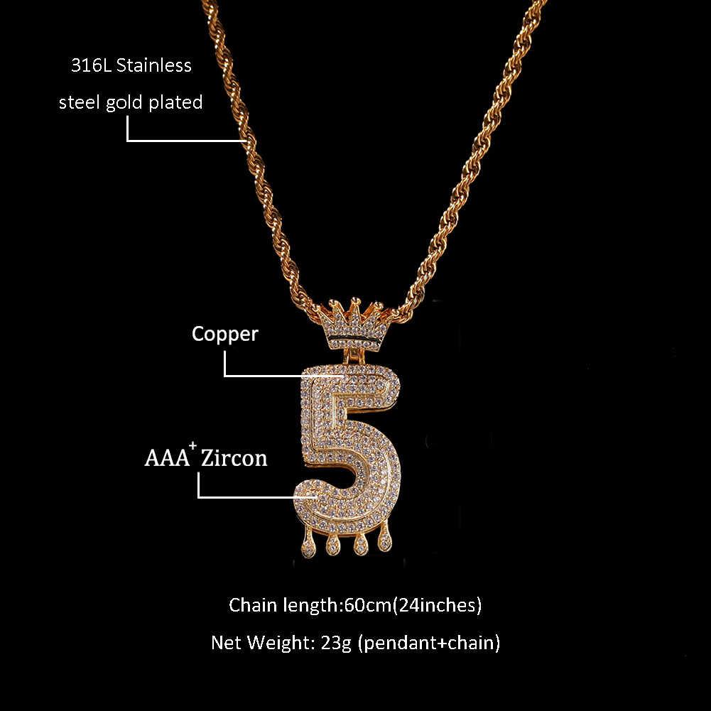 Uwin пользовательские Корона капельные цифры Bling Iced Out ожерелье для мужчин женщин золотой цвет кубический циркониевый хип хоп ювелирные изделия