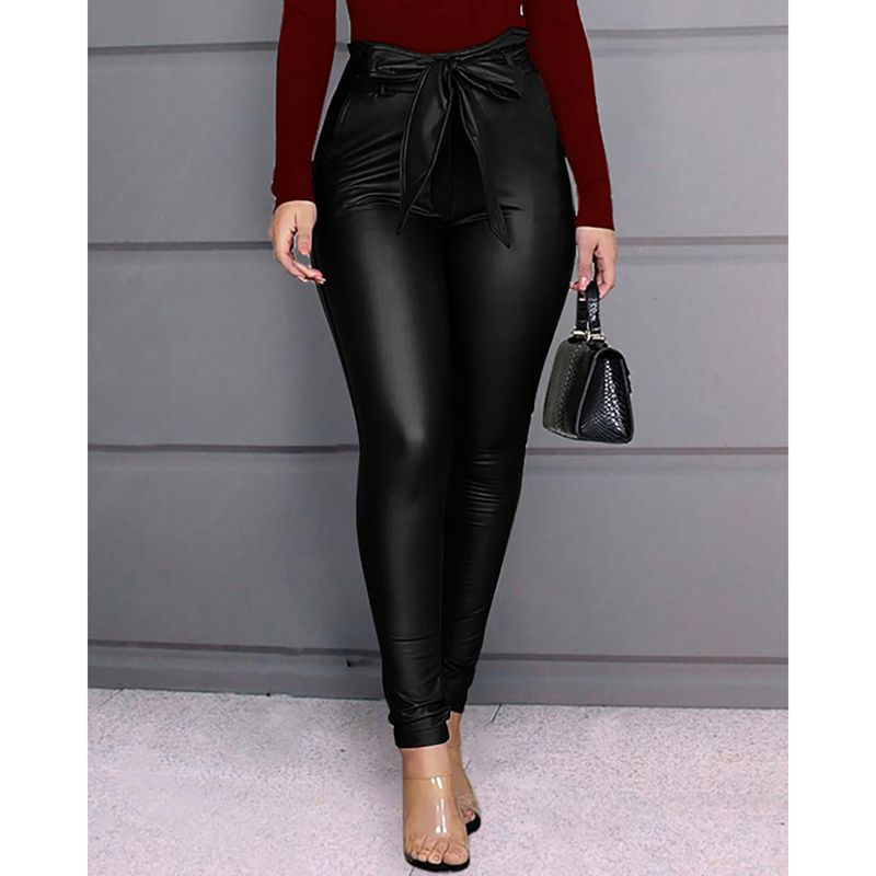 Women's Leggings PU Leather Pants Stretchy Skinny Pencil Trousers High Waisted Leggings  /BY