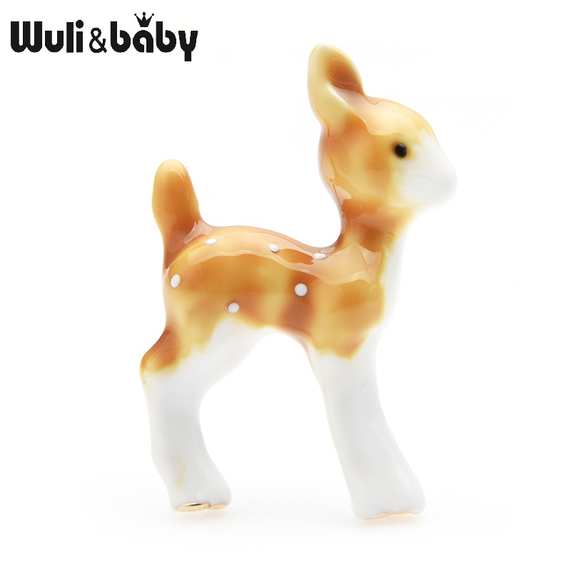 Wuli&baby Brown Deer Elk Brooches Women Alloy New Year Gifts Animal Party Banquet Brooch Pins