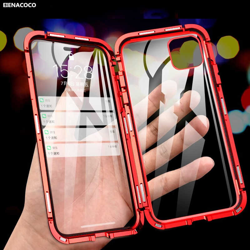 Magnetische Metalen Telefoon Case Voor Iphone 7 8 6 6S Plus Double Side Gehard Glas Cover Voor Iphone 11 Pro X Xs Max Xr Magneet Case