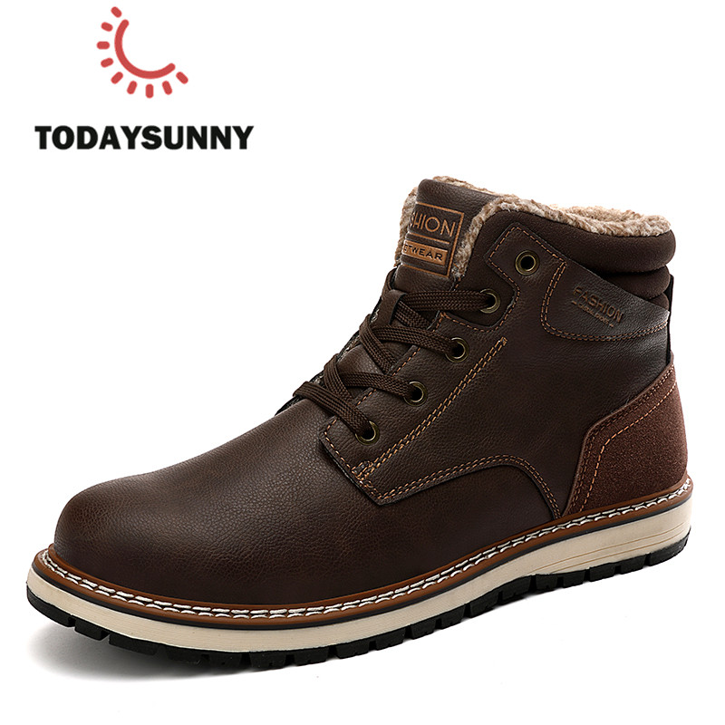 Men's Boots Waterproof Genuine-Leather Plush Outdoor Winter Warm Male Ankle 40-46 Hombre title=