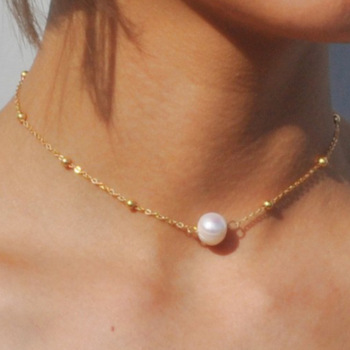 Simple Necklace Woman Artificial Pearl Choker Necklaces for Lady Elegant Fashion Sweet Jewelry Wedding Gold Color Alloy Collier image