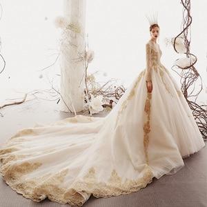 Image 2 - 2020 Custom Made Princess Wedding Dresses Vestido De Casamento Gold Appliques Beading Long Sleeve Bridal Gowns Bruidsjurken