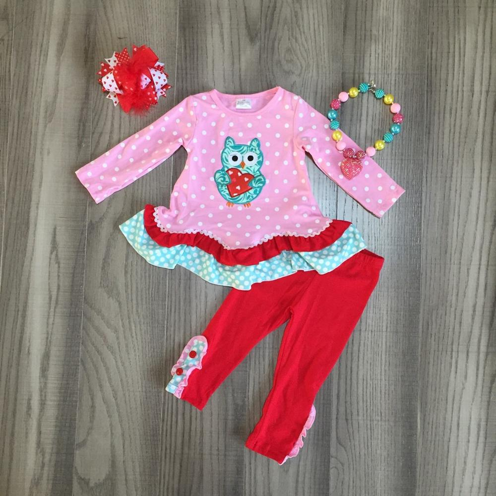 Valentines day baby girls children clothes set outfits boutique pink owl love heart shape ruffles pants cotton match accessoryClothing Sets   -