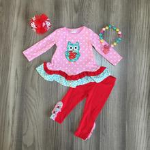 Valentines day baby girls children clothes set outfits boutique pink owl love heart shape ruffles pants cotton match accessory