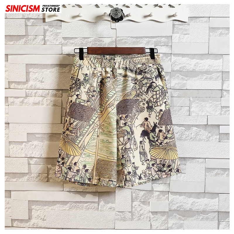 Sinicism Store Men 2020 Printed Casual Thin Shorts Mens Chinese Style Summer Oversize Short Male Knee Length Shorts Plus Size