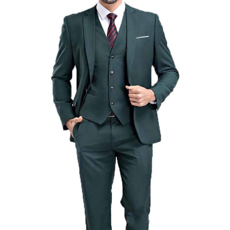2020 Hot Recommend Dark Emerald Hunter Green Groom Tuxedos Notch Lapel Men Blazer Prom Dresses Business Suit (Jacket+Pants+Vest)