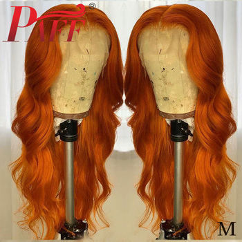 PAFF13x6 Orange Brown color Lace Front Human Hair Wigs 180Density Brazilian Body Wave Pre-Plucked Bleached Knots Baby Hair