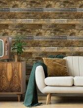 防水壁紙3dヴィンテージ木目の壁紙自己接着接触紙ホテルライブラリ寝室リビングルーム
