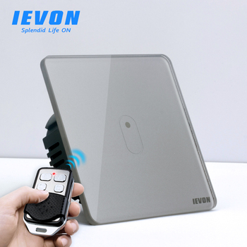 цена на 1 gang Wireless Remote Control touch light Switch, gray Glass panel Sensor wall touch switch, EU standard light wall switch
