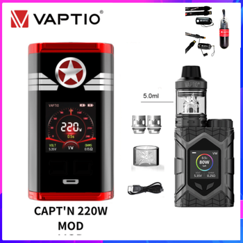 цена Vaptio Wall Crawler Throne Kit Vape 80W Electronic Cigarette Throne 510 Tank D2 Coils Atomizer 18650 Box Mod 1.3