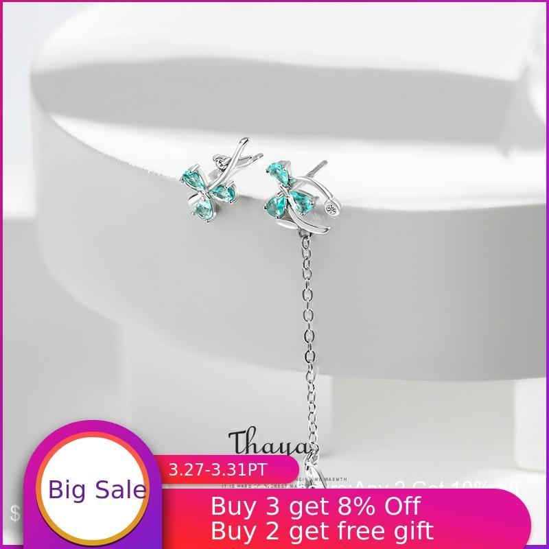 Thaya  Asymmetry Blue Petal Jewelry 925 Silver Earrings Statement Earrings For Women Original  Fine Jewelry