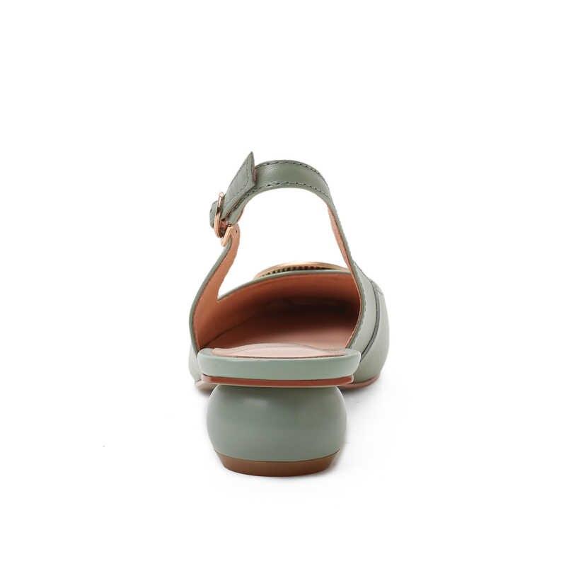 Taoffen Lente Vrouwen Pompen Enkelbandje Vrouwen Schoenen Dagelijkse Toevallige Metalen Vierkante Neus Gesp Zoete Kleur Vrouwelijke Schoenen Maat 33 -43