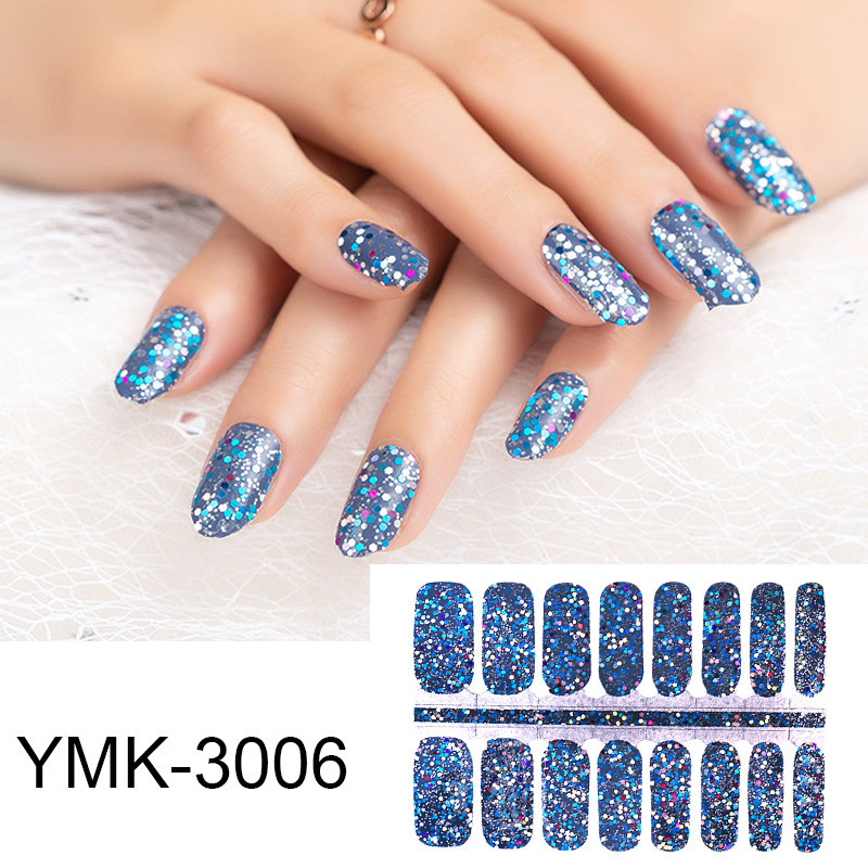 16tips/sheet Glitter Sequins Nail Wraps DIY Polish Sticker Strips Adhesive Shine Nail Art Stickers Manicure For Women Girls Gift