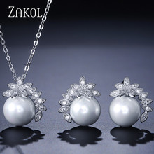 ZAKOL Elegant White Cubic Zirconia Round Earrings Pendant Necklace Set Bridal Jewelry for Women Wedding Dinner Party FSSP194