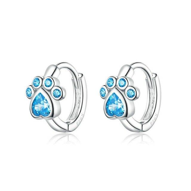Dog Silver Blue Paw Earrings 1