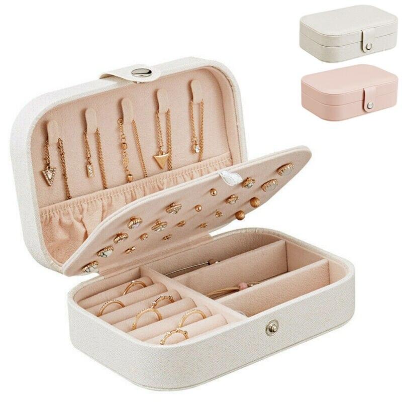 Jewelry Small Organizer Display Jewelry Box PU Leather Grids Jewelry Case Box Portable Travel Storage Necklace Earrings Box