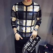 Luxury Men's Velvet T-Shirt Autumn and Winter Plaid Print T-Shirt Men's Club Clothing Men Slim Long Sleeve O-Neck Velvet T-Shirt(China)