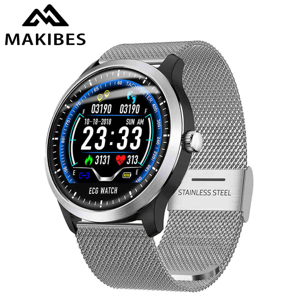 Makibes BR4 EKG PPG Smart Watch Pria dengan Elektrokardiogram Display Heart Rate Tekanan Darah Smart Band Kebugaran Tracker Jam Tangan