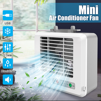 Home Mini Air Conditioner Portable Mini Air Cooler Humidifier USB Fan Desktop Air Conditioning Office Room Personal Space