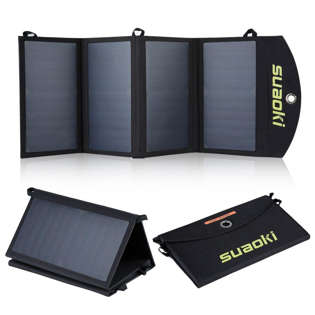 Suaoki 25w carregador de painel solar duplo-porta usb portátil dobrável saco solar
