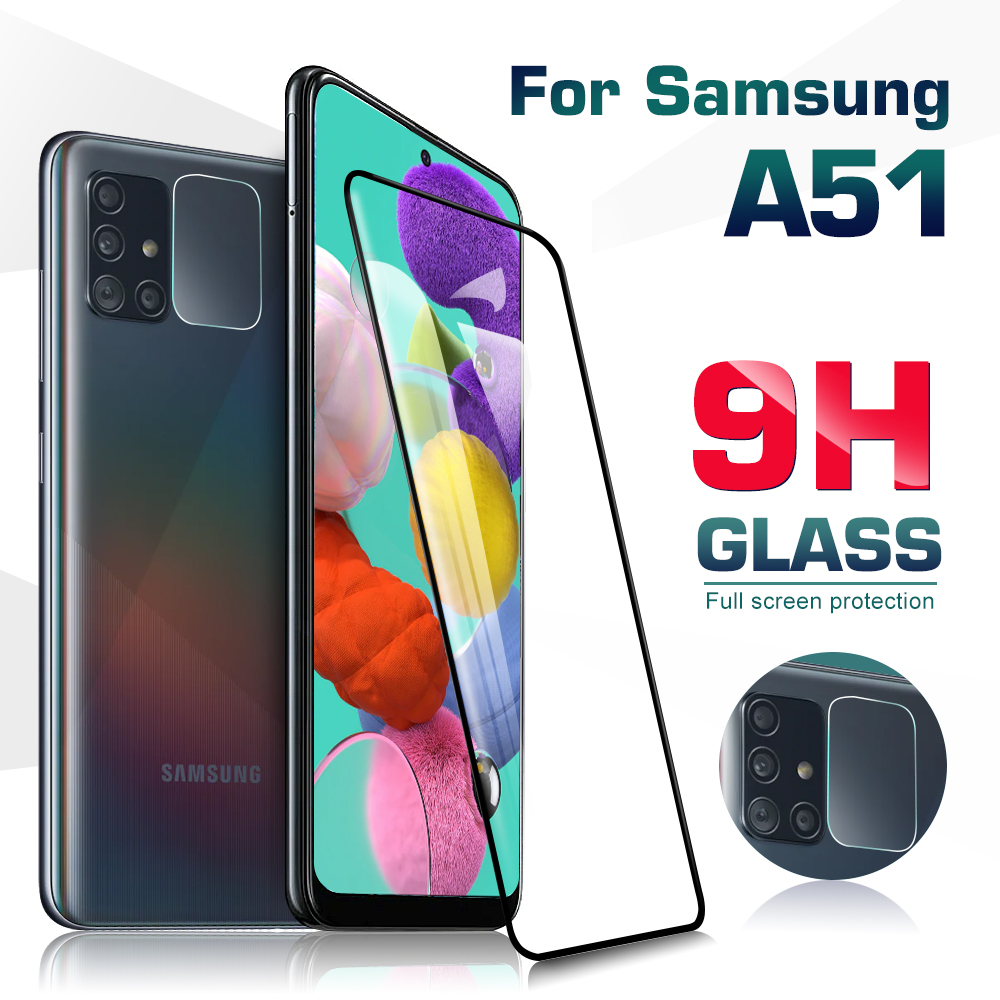 2in1 camera protector on for samsung galaxy A51 screen protector glas for samsung a51 515 a 51 9h protective tempered glass