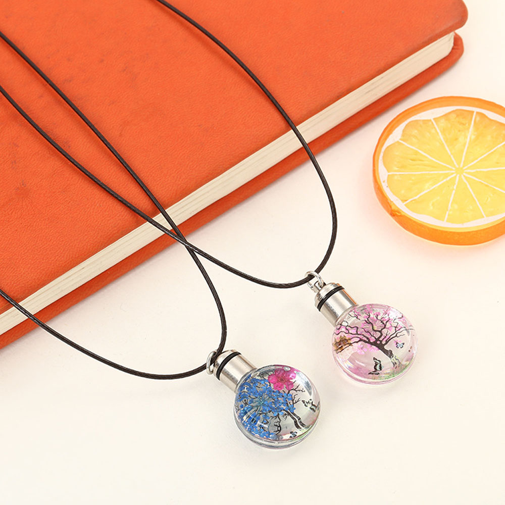 1PC Necklaces Flower Glass Ball Pendant Handmade Plant Butterfly Luminous Necklace Women Girls Party Jewelry Gift