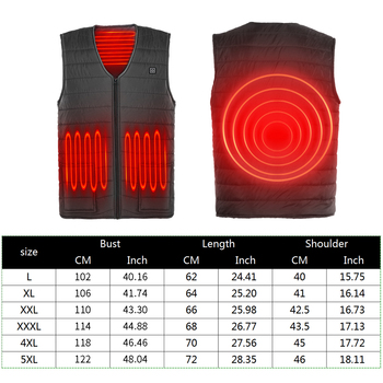 3 Gears Adjustable Winter Smart Heated Cotton Vest USB Heating Jacket Outdoor Camping Fishing Skiing Hunting Warm Clothes 6