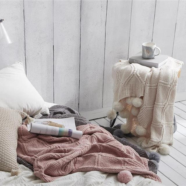 Nordic Knitted Throw Thread Blanket on the Bed Sofa Travel TV Nap Blankets Soft Towel Bed Tapestry 5