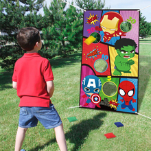 Superhero Toss Games with 4 Bean Bags Indoor Outdoor Throwing Game for Kids & Family Party Banner Hanging Hero Decor Supplies