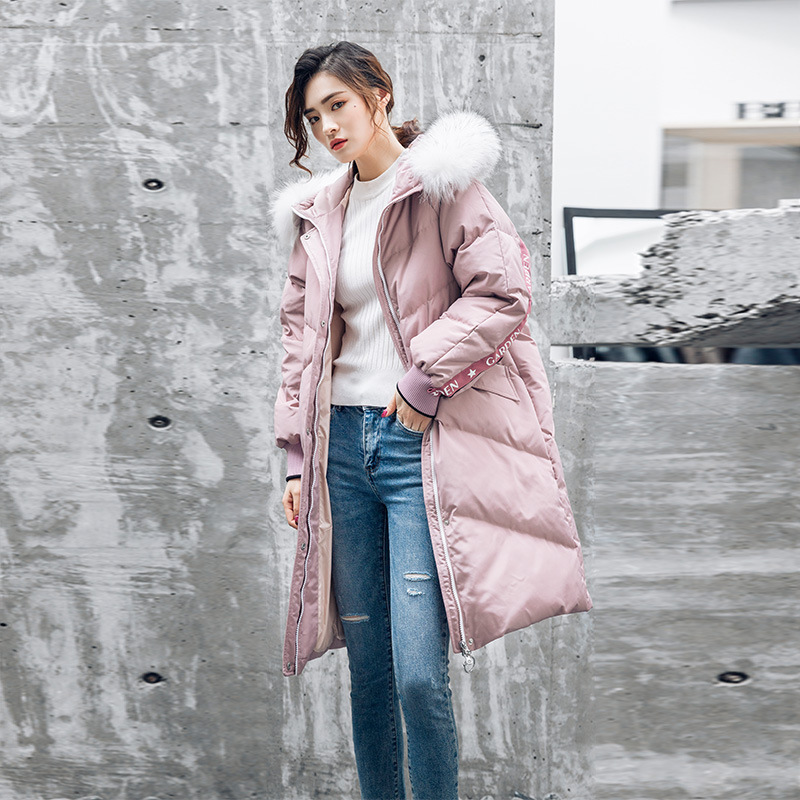 Duck White Down Jacket Women Raccoon Fur Collar Winter Coat Women Down Jacket Korean Puffer Jacket Casaco 6837 YY1321