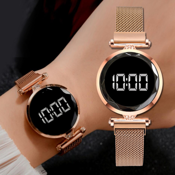 Luxury Digital Magnet Watches For Women Rose Gold Stainless Steel Dress LED Quartz Watch Female Clock Relogio Feminino Drop Ship image