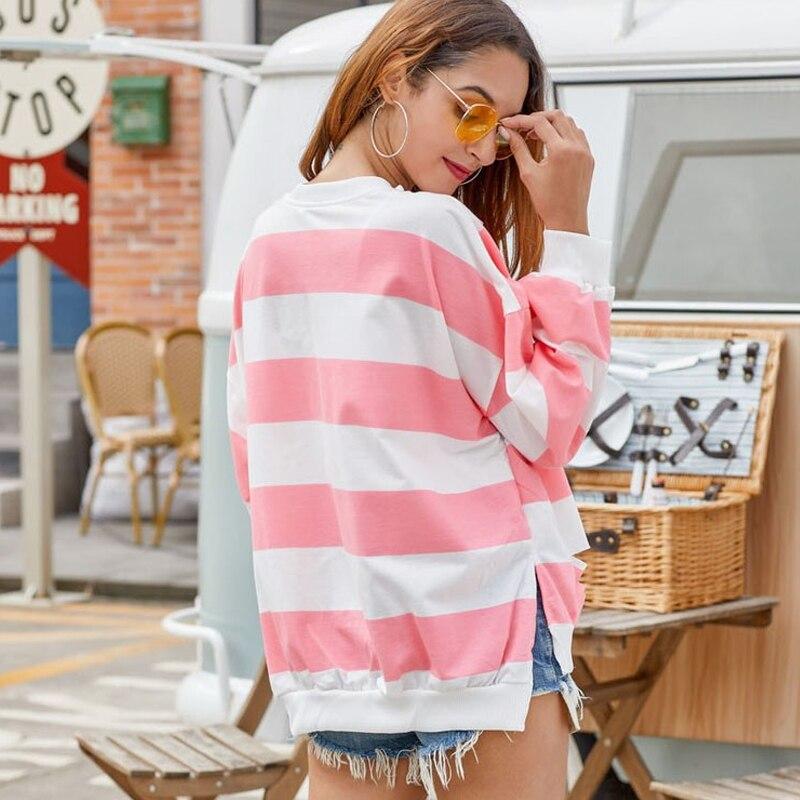 BEFORW Women Autumn Pink Striped Hoodies Pullover 2019 Winter Long Sleeve Loose Tearing Sweatshirt Female Casual Hoodie Tops in Hoodies amp Sweatshirts from Women 39 s Clothing
