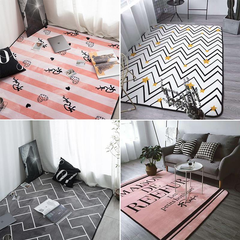 Couverture enlevée à la main coussinet de pied tapis de table à thé lavable panier suspendu à la maison style européen rose bleu tapis de salle de bain - 2