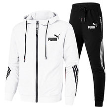 2021 marca de moda masculina de duas peças de manga longa listrado roupas esportivas com capuz superior calças esportivas ao ar