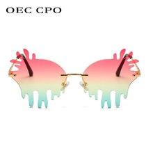 Oec cpo Винтажные Солнцезащитные очки без оправы женские новые