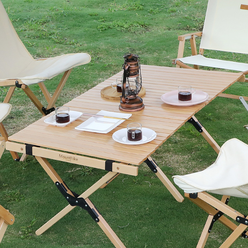 Outdoor Folding Table Beech Camping Wooden Table Family BBQ Picnic Desk Garden Party Table Travel Hiking Outdoor Furniture