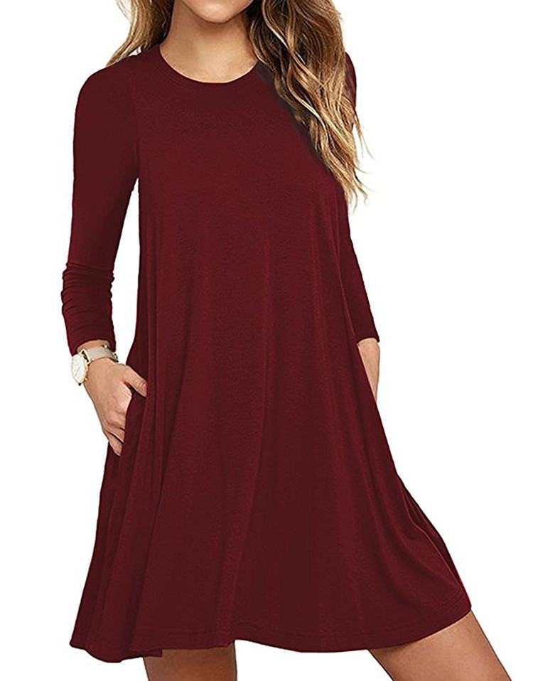 Women's Tunic Pockets Casual Swing T-Shirt Plain Loose Dress Casual Wear Dress