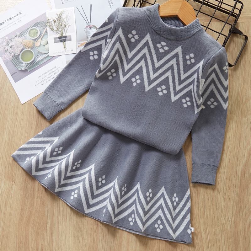 Autumn Winter Plaid print Sweater Dress Set Casual Girls Clothing Sets Girls Clothes Suit Children Clothes Kids Clothing Sets 5