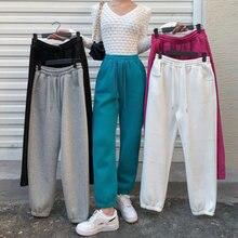 Осенние женские спортивные штаны однотонная Толстая теплая зимняя