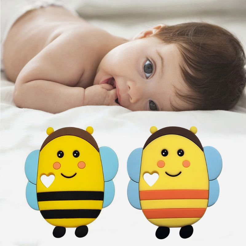 Silicone Cute Bee Baby Teether Toys Teething Collar Pacifier Clips Chew Supplies