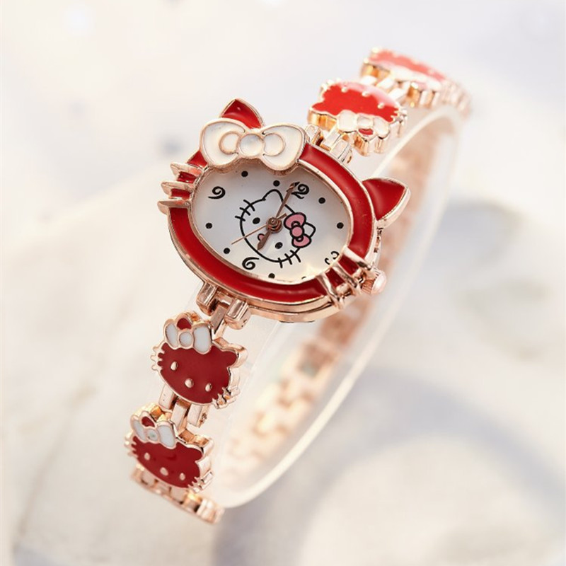 Clearance SaleGirls Watches Clock Gifts Hello-Kitty Children's Women Cute Relogio Montre Enfant