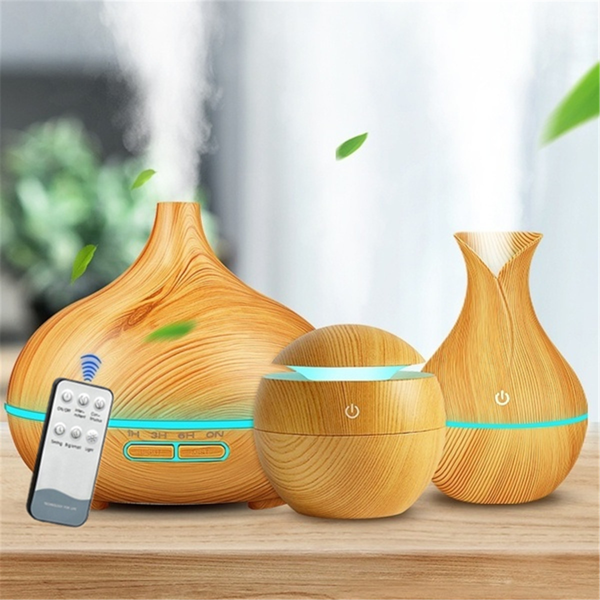 3-Piece Set Aroma Air Humidifier Essential Oil Diffuser Ultrasonic Cool Mist Air Purifier 7Color Changing LED  Light For Home