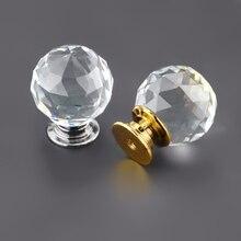 10 unidades/lotes 30mm bola de vidro cristal lidar com alça único furo europeu armário porta gaveta lidar com acessórios de ferragens móveis
