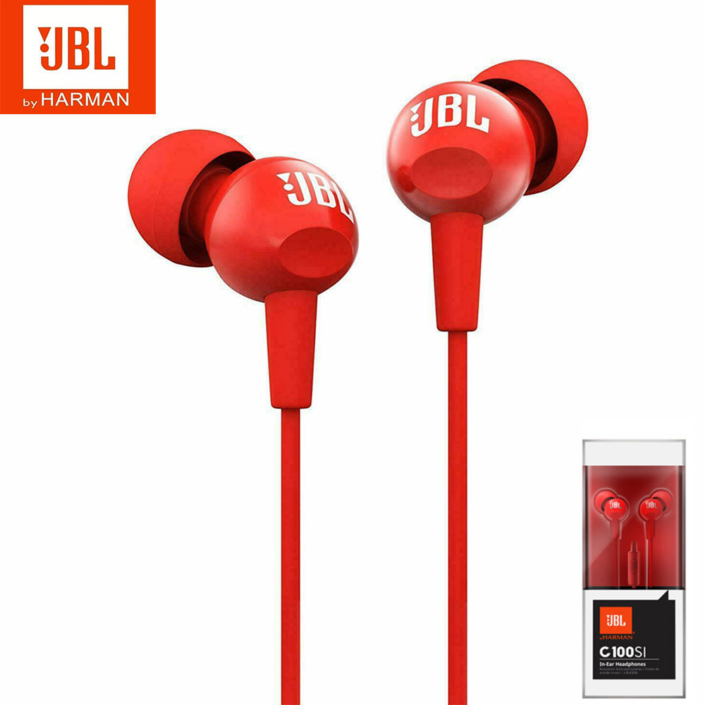 Original JBL C100Si Stereo Wired Headphones Deep Bass Music Sports 3.5mm Headset In-ear Earbuds With MIC By HARMAN