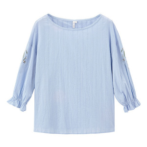 Image 5 - INMAN 2020 Spring New Arrival Literary Embroidered Pure Cotton Round Collar Petals Sleeve Temperament Leisure Blouse