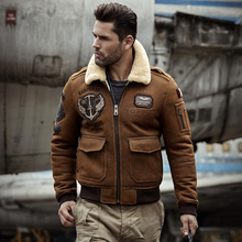 Shearling Sheepskin Genuine Leather Coat male B3 Bomber Jack
